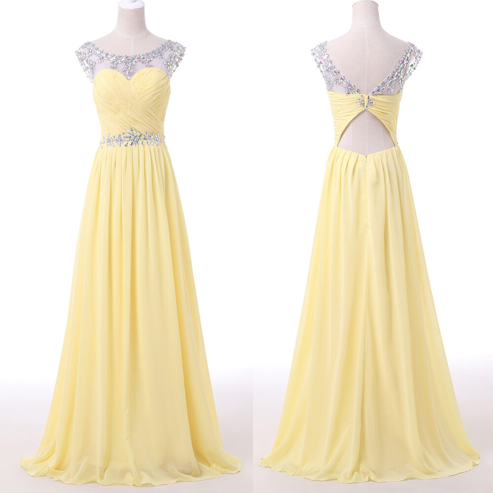 Sexy long prom graduation masquerade gowns evening party for Yellow dresses for wedding