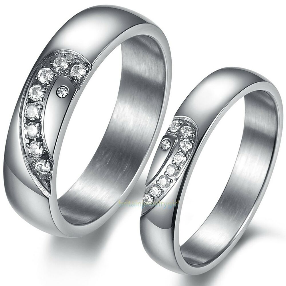 Matching Bands: Stainless Steel Matching Heart CZ Men's Women's Promise