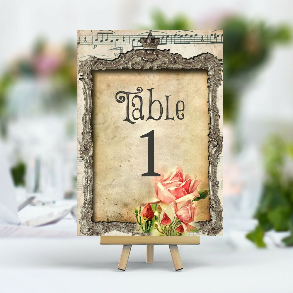 Vintage style wedding table number name card antique frame - Antic and chic ...