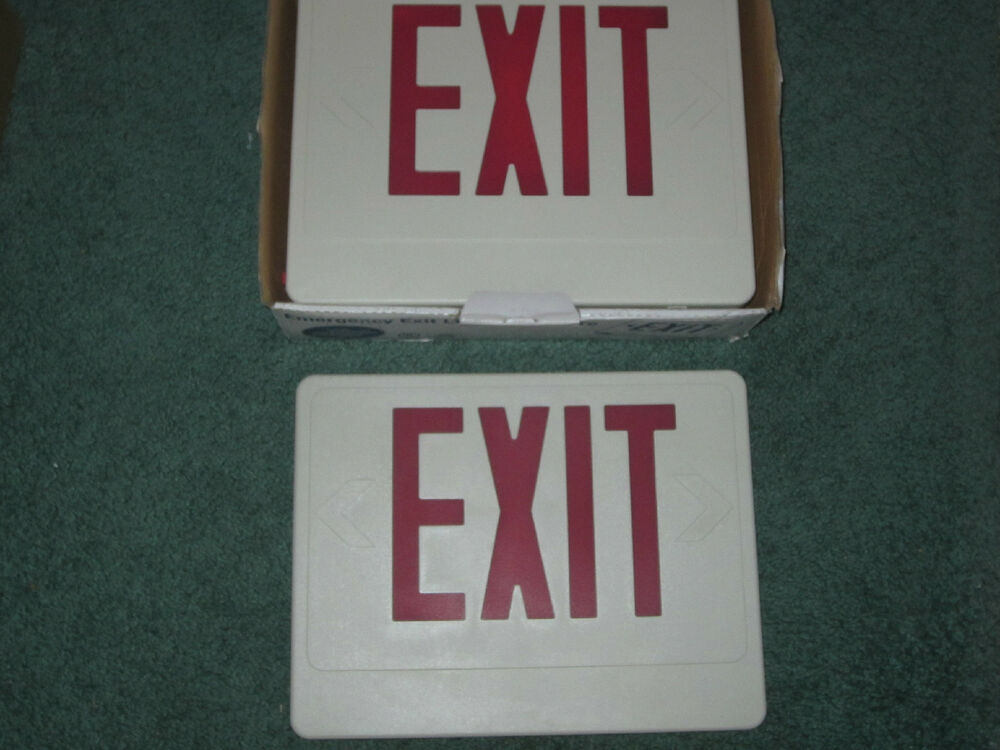 Nicor Lighting Led Emergency Exit Sign 18200rwr Remote Double Sided Fixture Red Ebay