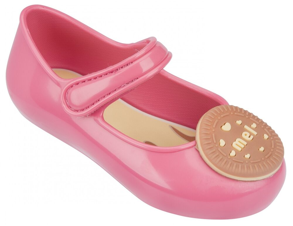 9d58046022a0 Mel by Melissa Girls Mini Mel Cool Baby Biscuit Pink Jelly Pumps Shoes New  In