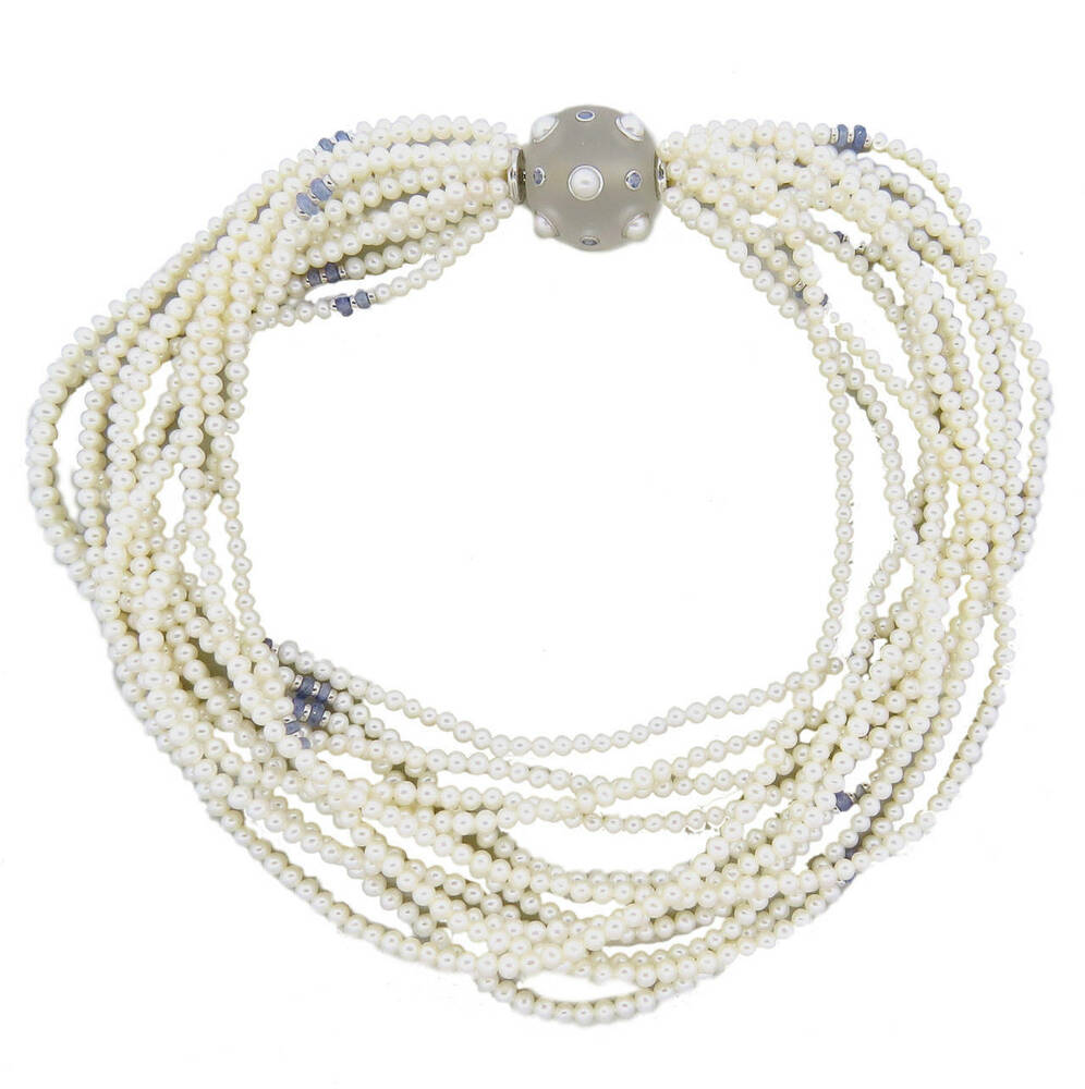 Pearl Necklace Clasp: Trianon Multi Strand Pearl Necklace With Frosted Crystal