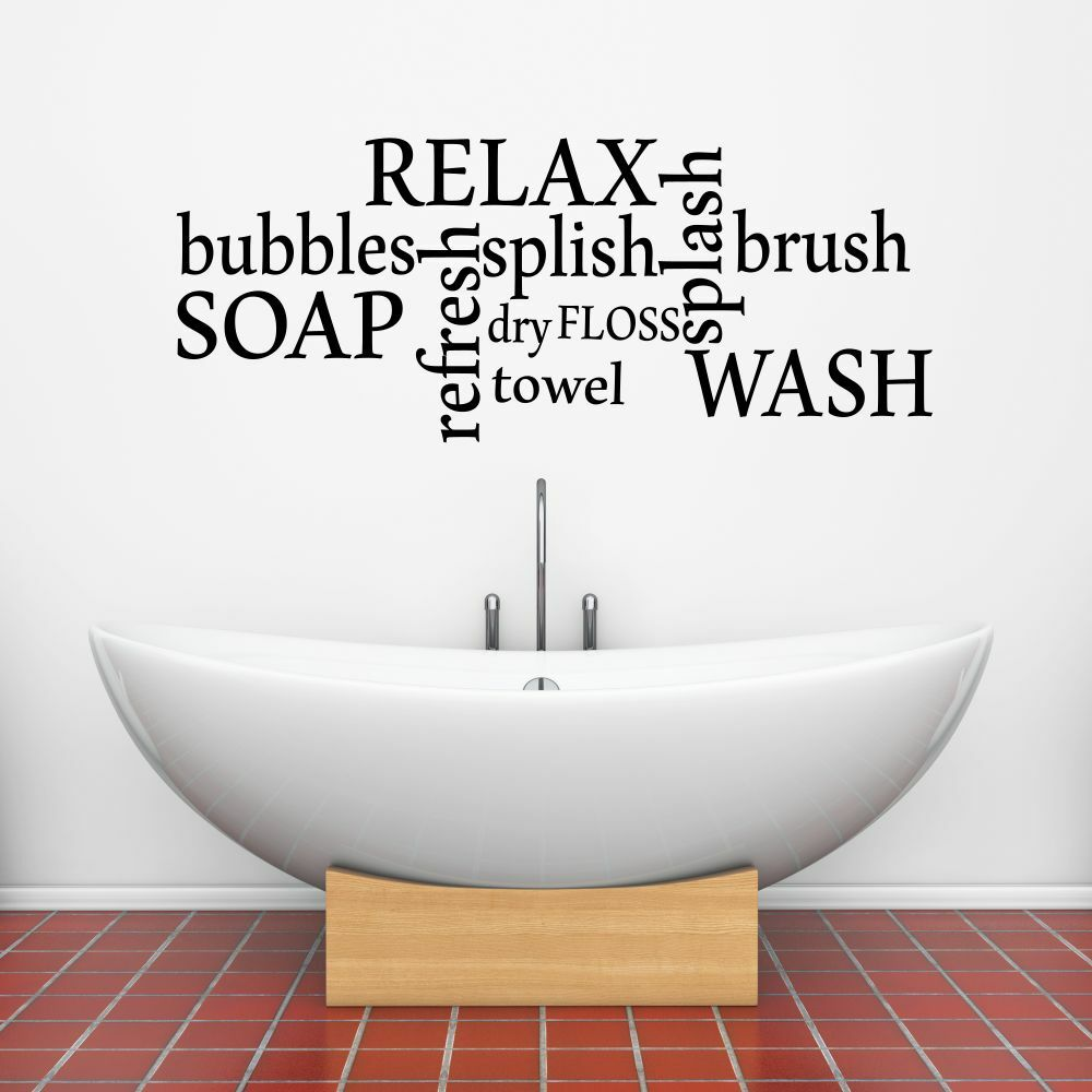 Bathtime Words Vinyl Wall Sticker Wall Art Decal Transfer For Bathroom Ebay