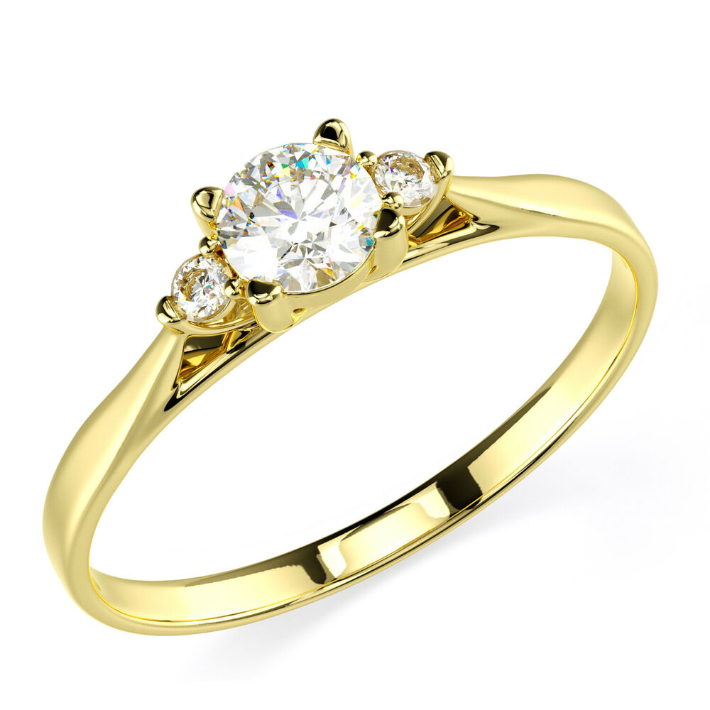 Engagement Rings In Gold: 14K Solid Yellow Gold CZ Cubic Zirconia Three Stone