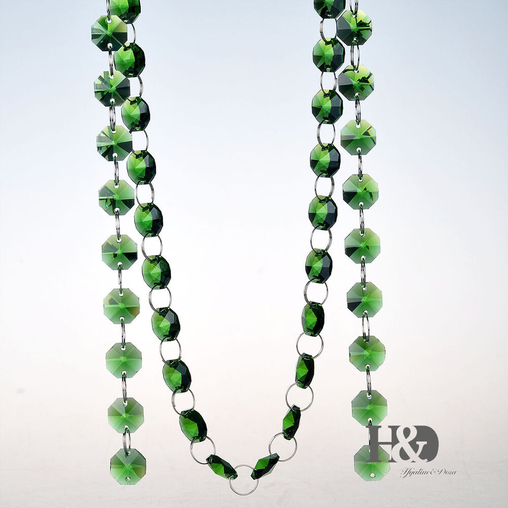 6FT Crystal 14mm Green Octagon Beads Chain Chandelier ...