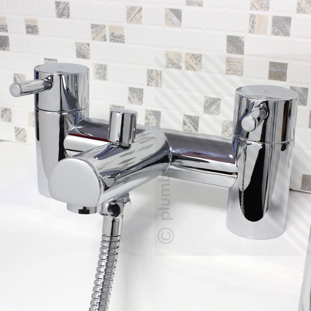 modern bath filler mixer tap with shower mixer handset hose holder
