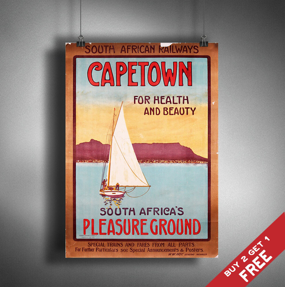 A3 Large CAPE TOWN POSTER Vintage Retro Travel Wall Art