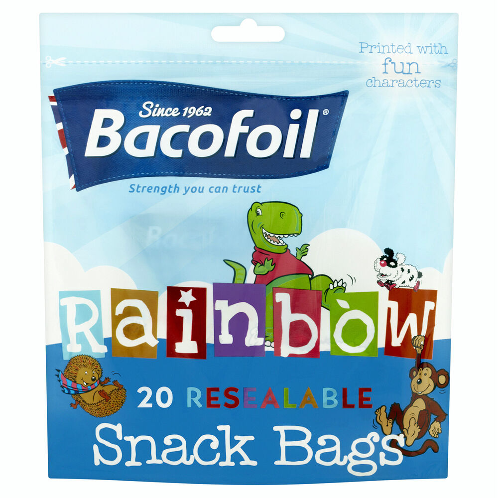 bacofoil rainbow 20 resealable snack bags printed with fun. Black Bedroom Furniture Sets. Home Design Ideas