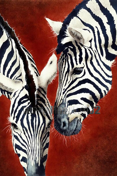 Black and White Zebra Painting Hot Red Background Canvas ...