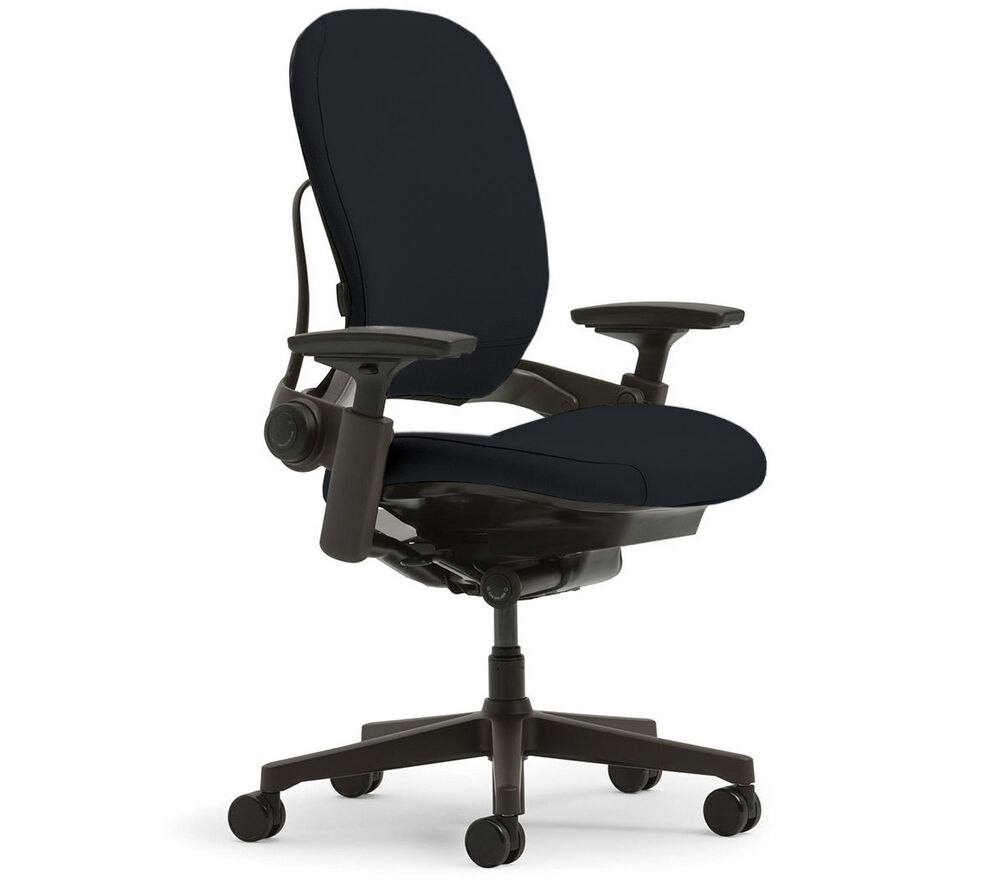 New Steelcase Leap Chair Adjustable V2 Buzz2 Black Fabric Desk Seat Black Fra
