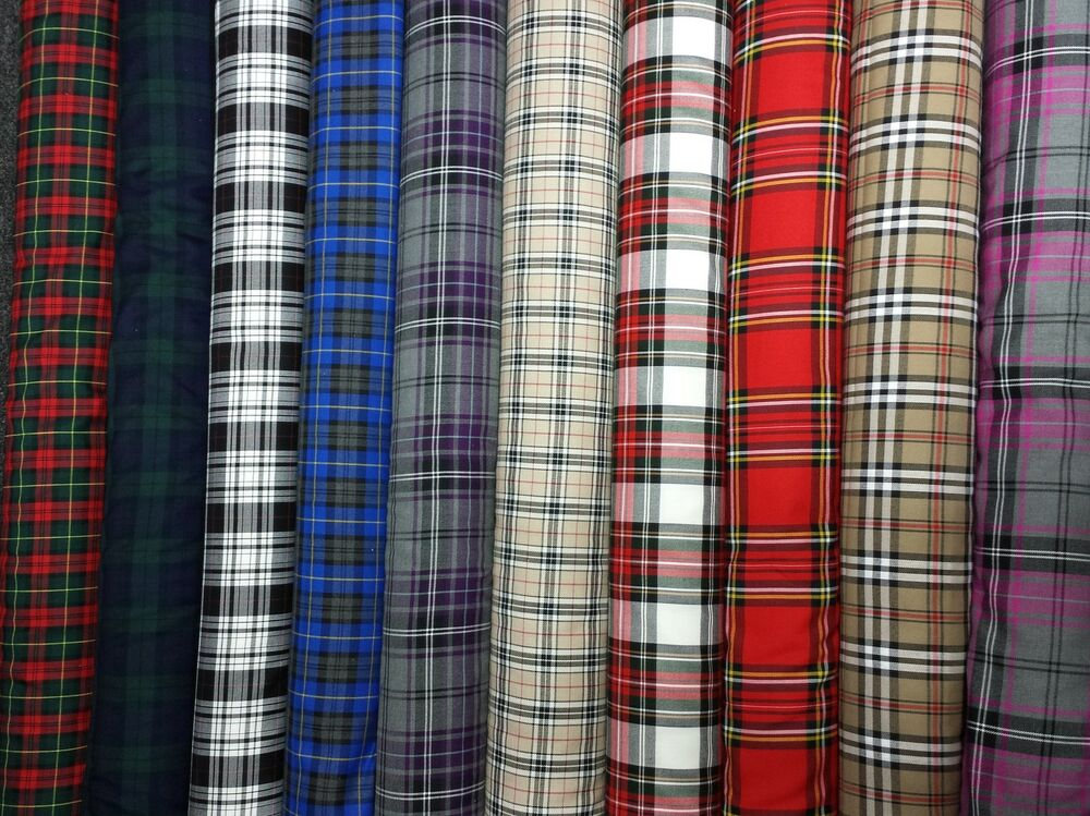 tartan plaid check craft quilting designer curtain upholstery fabric ebay. Black Bedroom Furniture Sets. Home Design Ideas