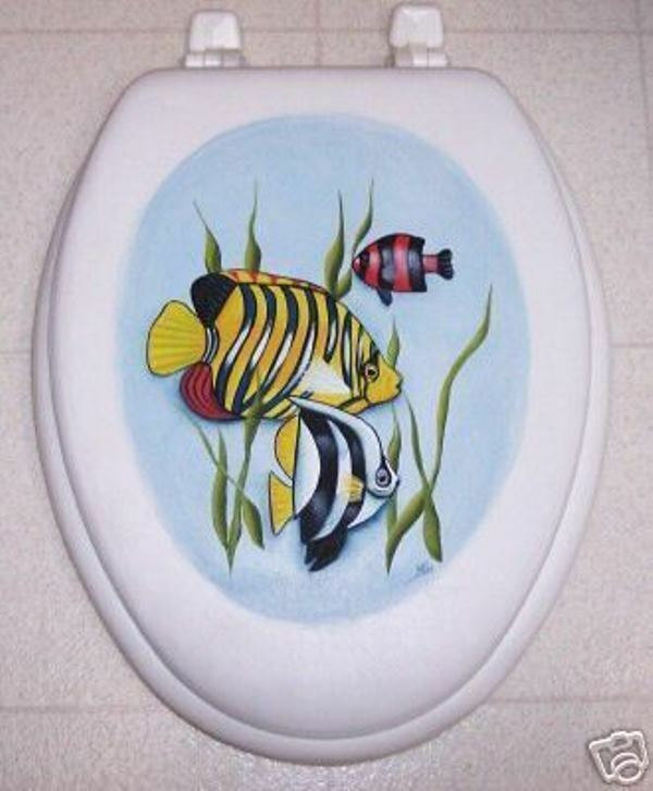 Hand painted fish toilet seat elongated seat by mb ebay for Fish toilet seat