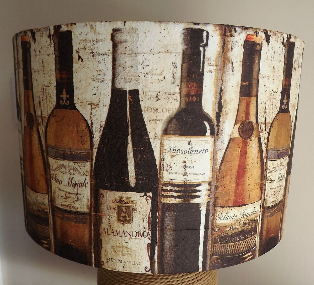 Old wine bottle lamp shade lampshade decoupage free gift for Wine cork lampshade