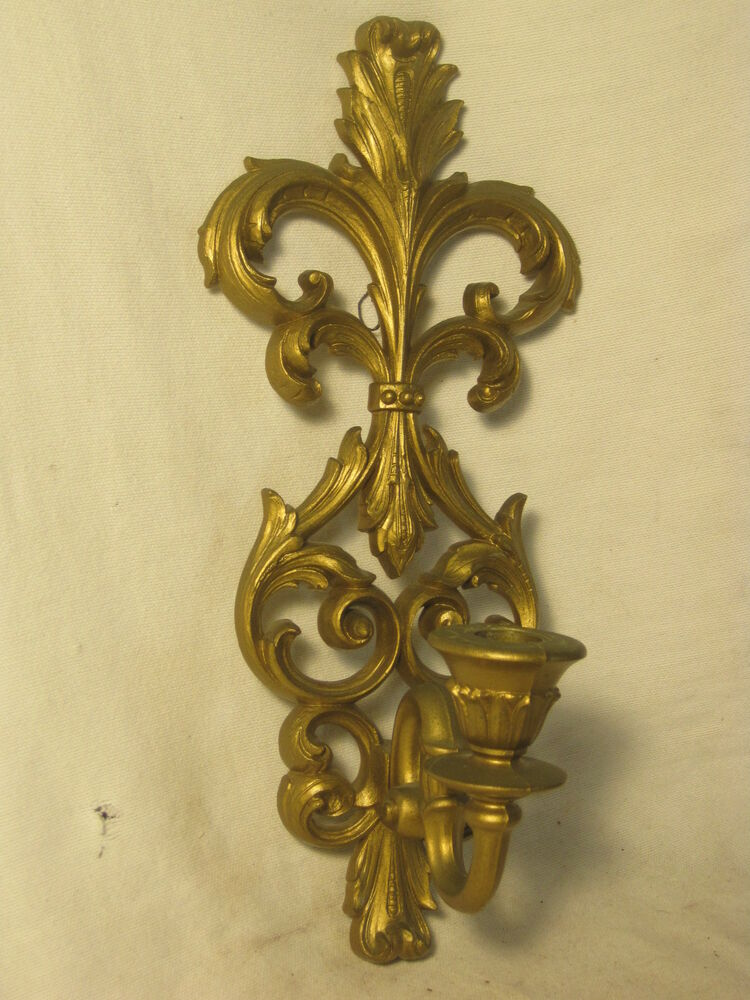 Scroll Wall Sconces Candles : vintage Burwood U.S.A. sconce wall mount candle holder ornate plastic scroll eBay