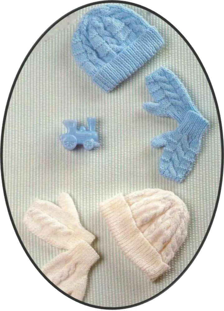Knitting Pattern- Baby easy Knit winter hats and gloves in ...