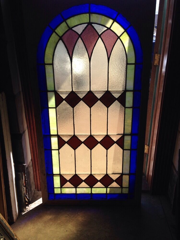 Antique arch top stained glass window x high for Best glass for windows