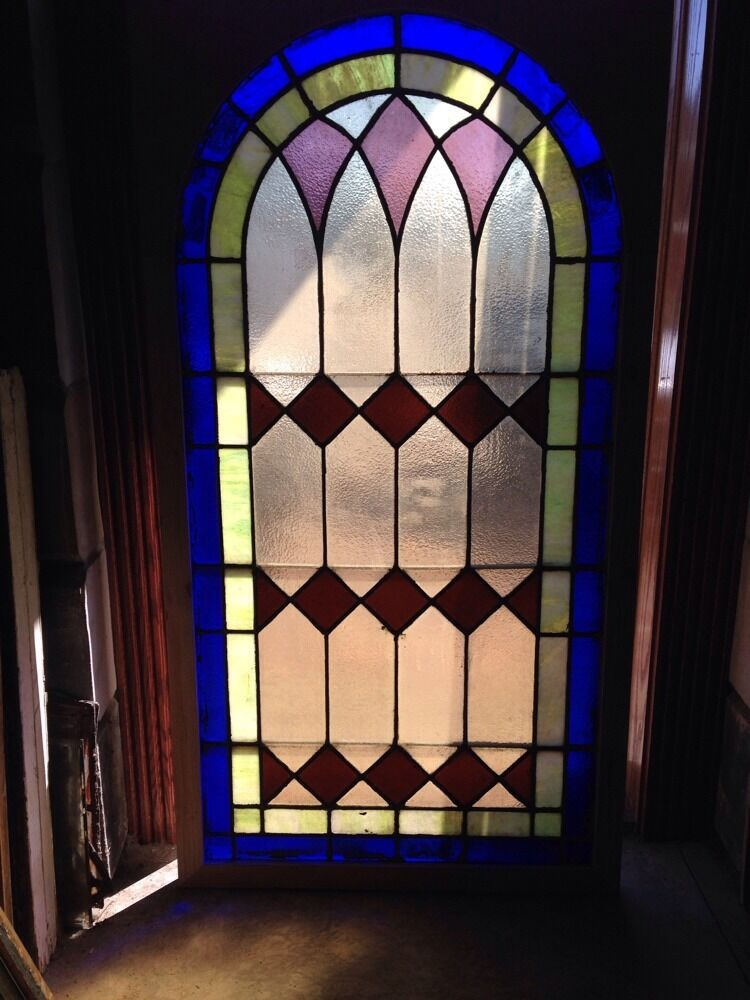 Sg 135 antique arched top stained glass window x 63 for Best glass for windows