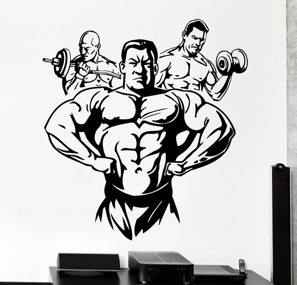 Wall sticker sport bodybuilding bodybuilder man barbell for Stickers de pared