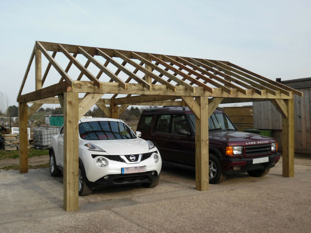 Wooden Garden Shelter Frame Gazebo Cart Lodge Car Port