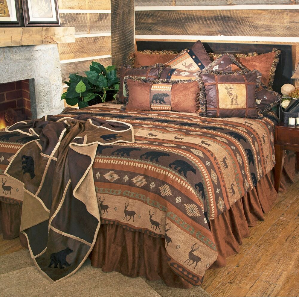 rustic cabin lodge bedding set deer bear autumn trails