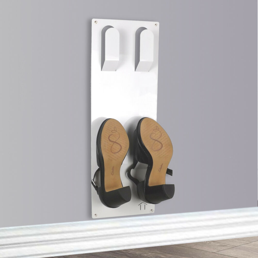 Slimline Wall Mounted Shoe Storage Rack White By The Metal