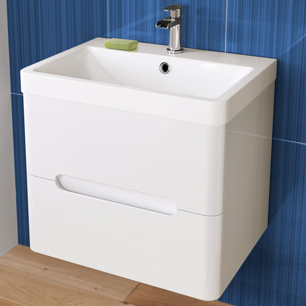 Excellent 550mm WHITE GLOSS WALL HUNG UNIT BATHROOM VANITY FURNITURE  MDF