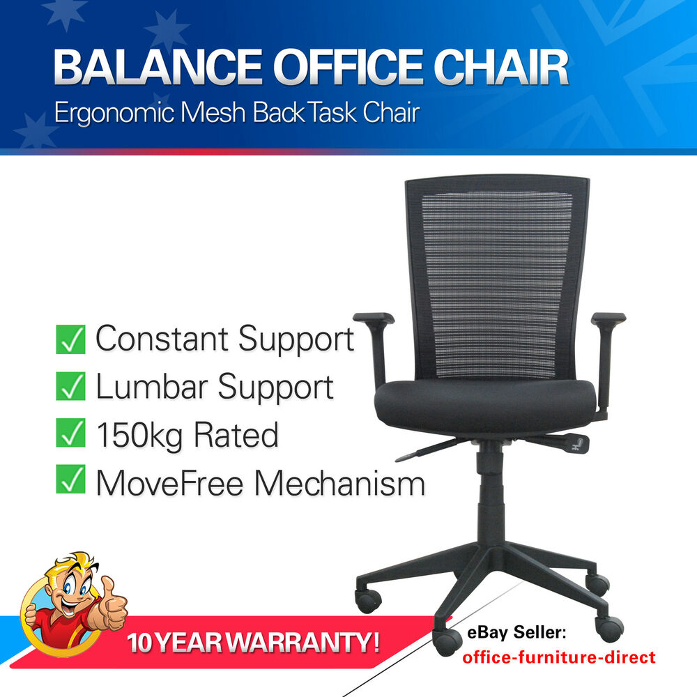 mesh office chair ergonomic executive desk chairs arms 150kg rated gas lift ebay. Black Bedroom Furniture Sets. Home Design Ideas