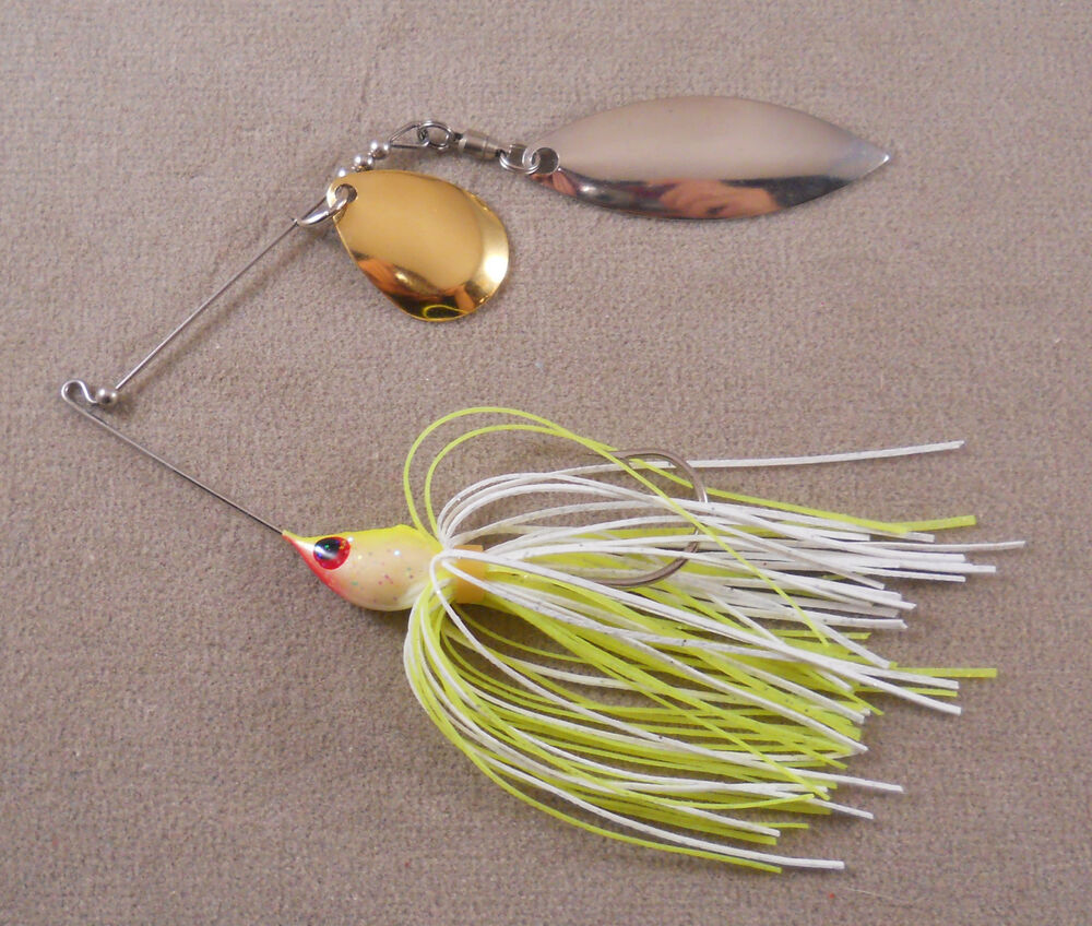 Bass fishing lure custom spinnerbait 1 4 oz with 1 for Spinnerbait bass fishing