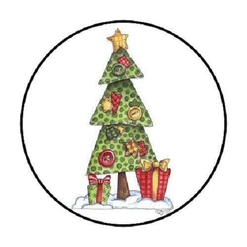 Country christmas tree envelope seals labels stickers