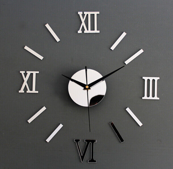 Simple DIY 3D Silver Roman Numerals Mirror Wall Clock Modern Design ...