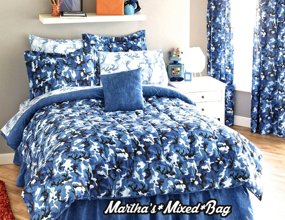Boys Modern Blue Camo Camouflage Army Hunting Cabin
