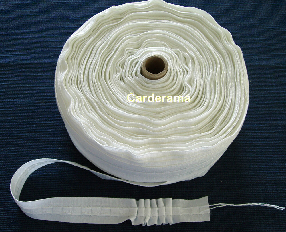 Curtain Heading Tape 1 28mm White Curtain Pleating Tape With Free Uk P P Ebay