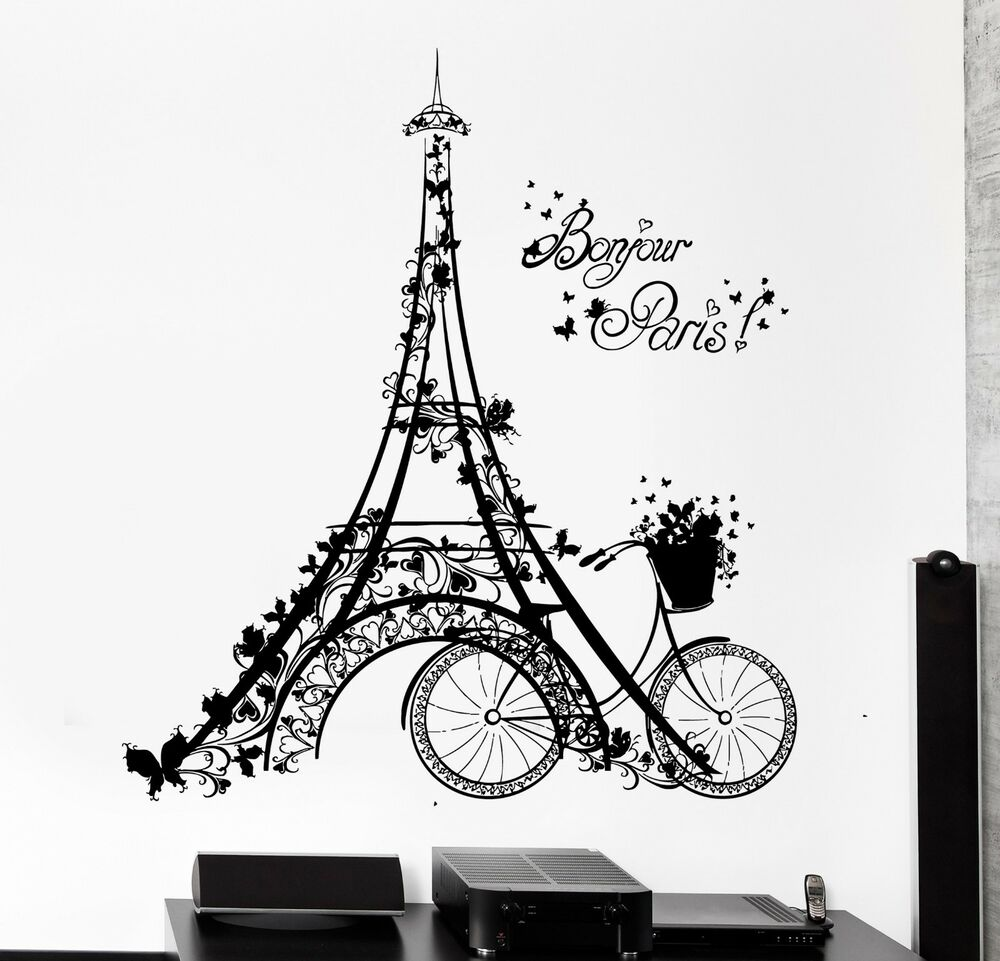 wall decal paris eiffel tower france bicycle love vinyl decal z3112 ebay. Black Bedroom Furniture Sets. Home Design Ideas