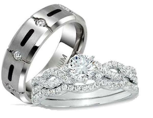 His and hers wedding rings 3 pc sterling silver titanium for 3pc wedding ring set