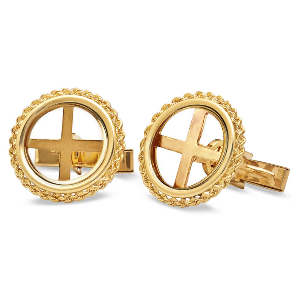 14k Gold Rope Polished Coin Cuff Links - 14mm - SKU #63660