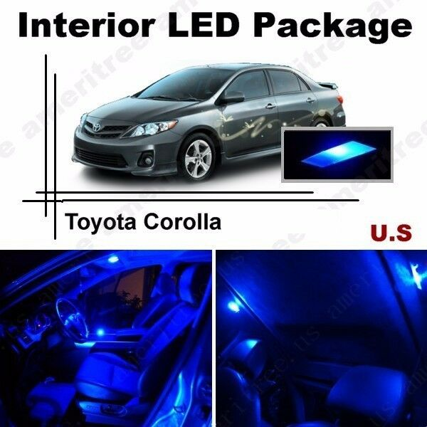blue led lights interior package kit for toyota corolla 03 14 6 pieces ebay. Black Bedroom Furniture Sets. Home Design Ideas