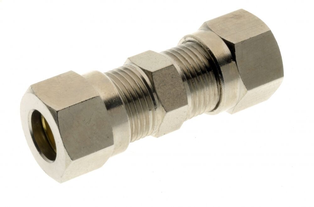 Straight coupling connector nickel plated brass
