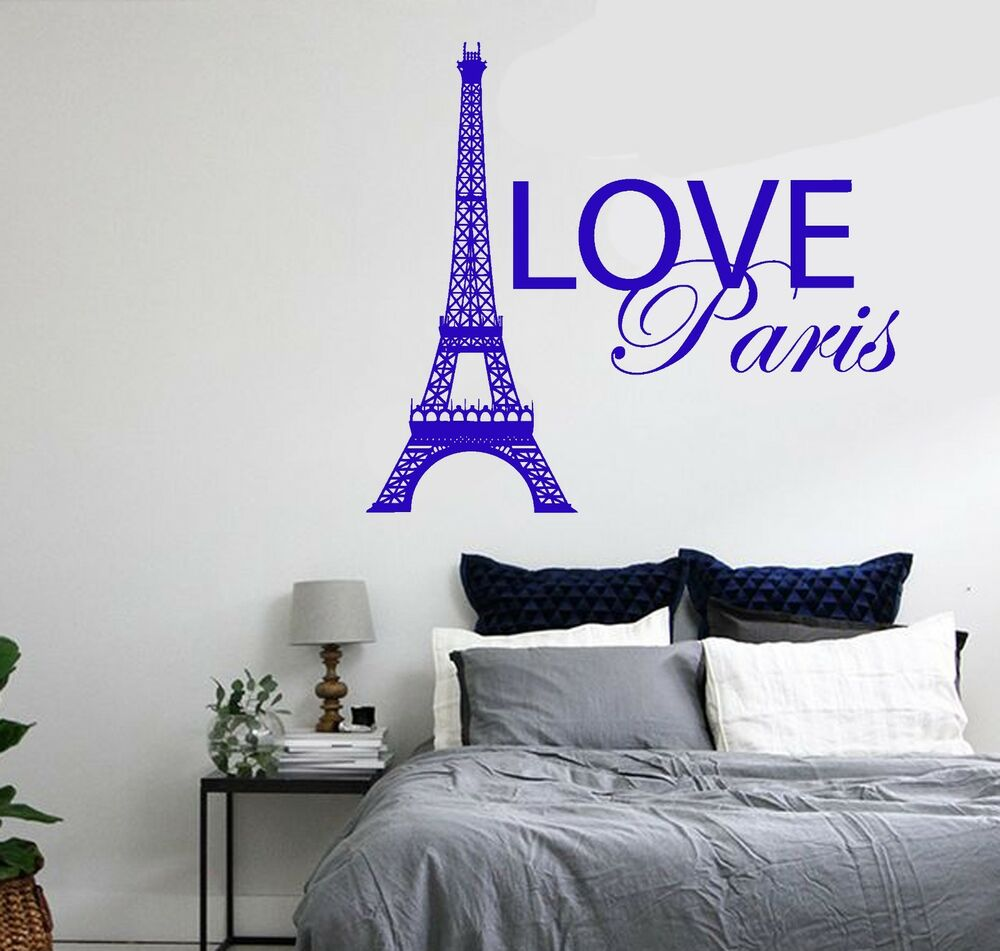 Wall Decal Paris France Eiffel Tower Quote City Love Vinyl