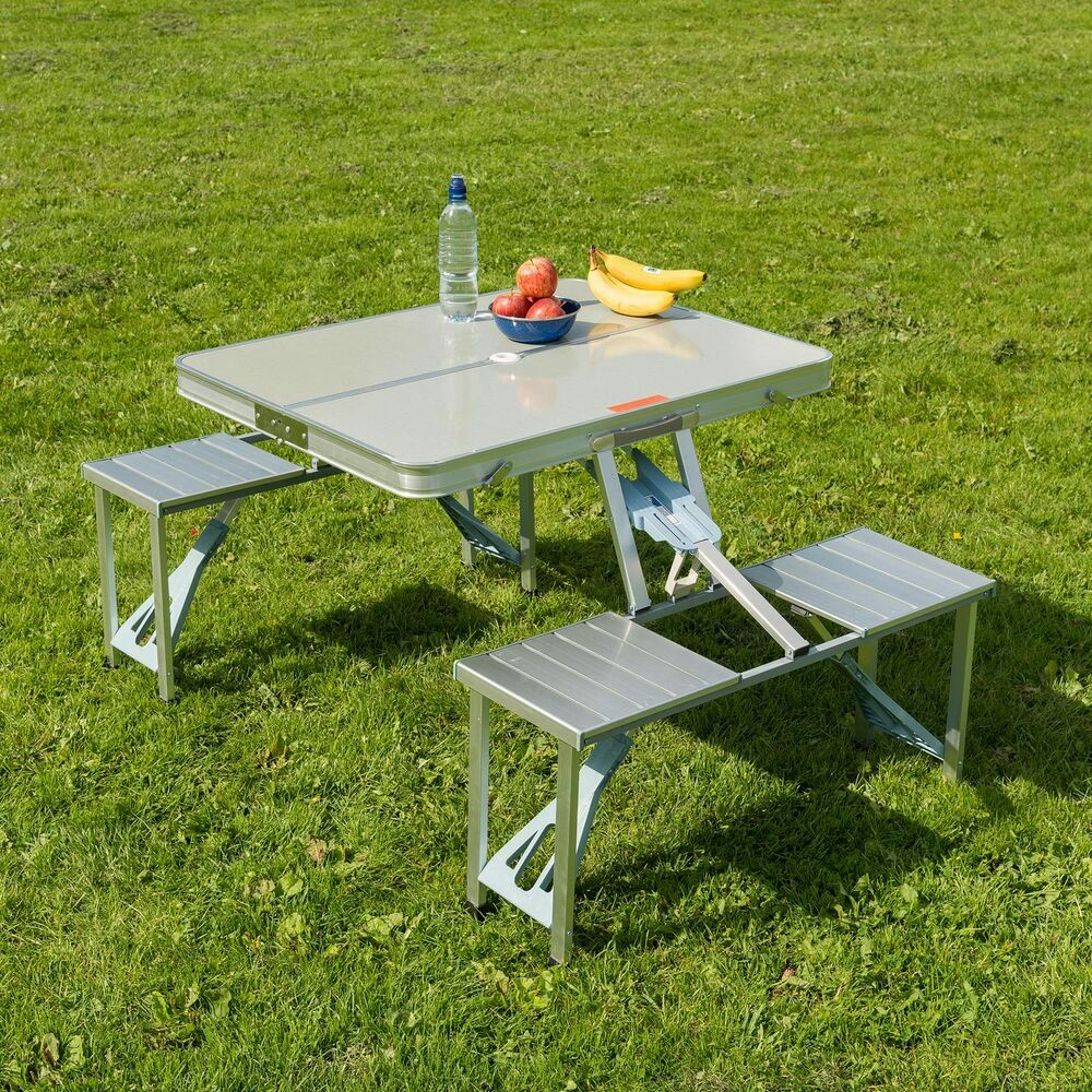 Trail Aluminium Picnic Table Portable Folding Chairs Set