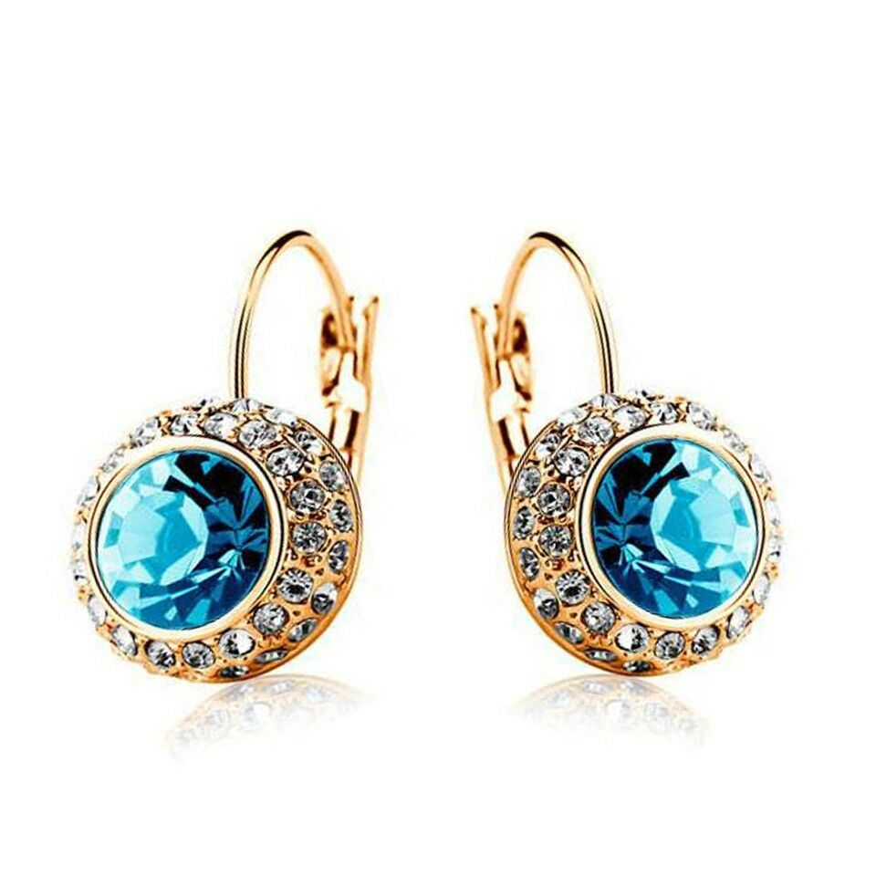 18K Yellow Gold Plated Blue Sapphire Dangle Hoop Earrings ...