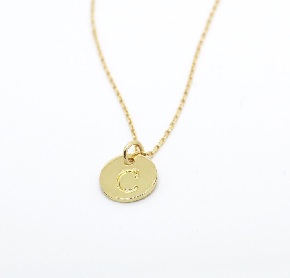 initial disc charm necklace monogram disc chain