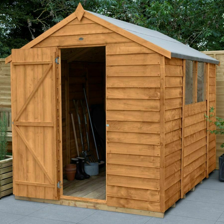 8x6 wooden garden shed apex roof felt windows free for Outdoor wood shed