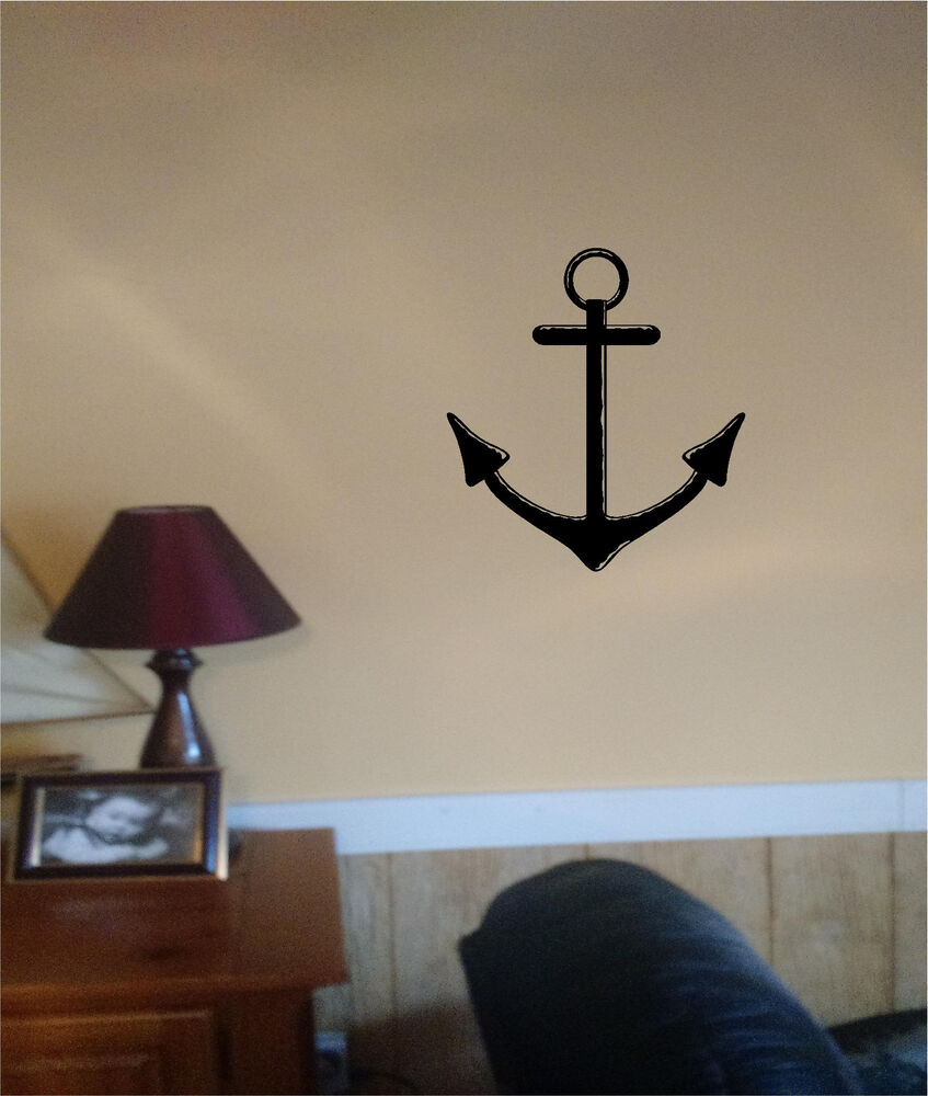 Anchor wall sticker nautical wall art decor vinyl stickers for Anchor wall decoration
