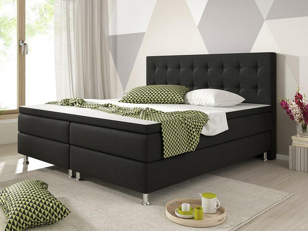 boxspringbett k ln bett hotelbett designerbett 180x200 cm webstoff schwarz ebay. Black Bedroom Furniture Sets. Home Design Ideas