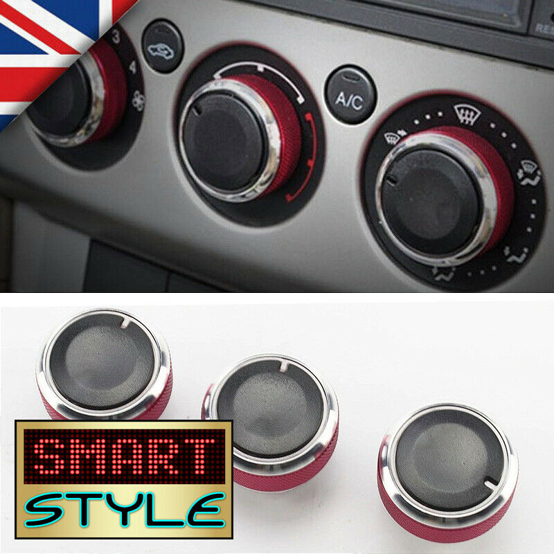 smartstyle red aluminium heater knobs buttons for ford focus c max s max st ebay. Black Bedroom Furniture Sets. Home Design Ideas