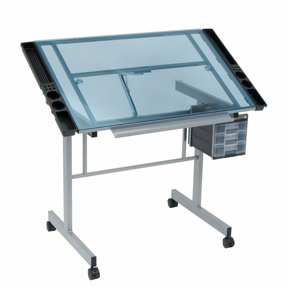 vision craft station drafting table glass art drawing table silver blue ebay. Black Bedroom Furniture Sets. Home Design Ideas