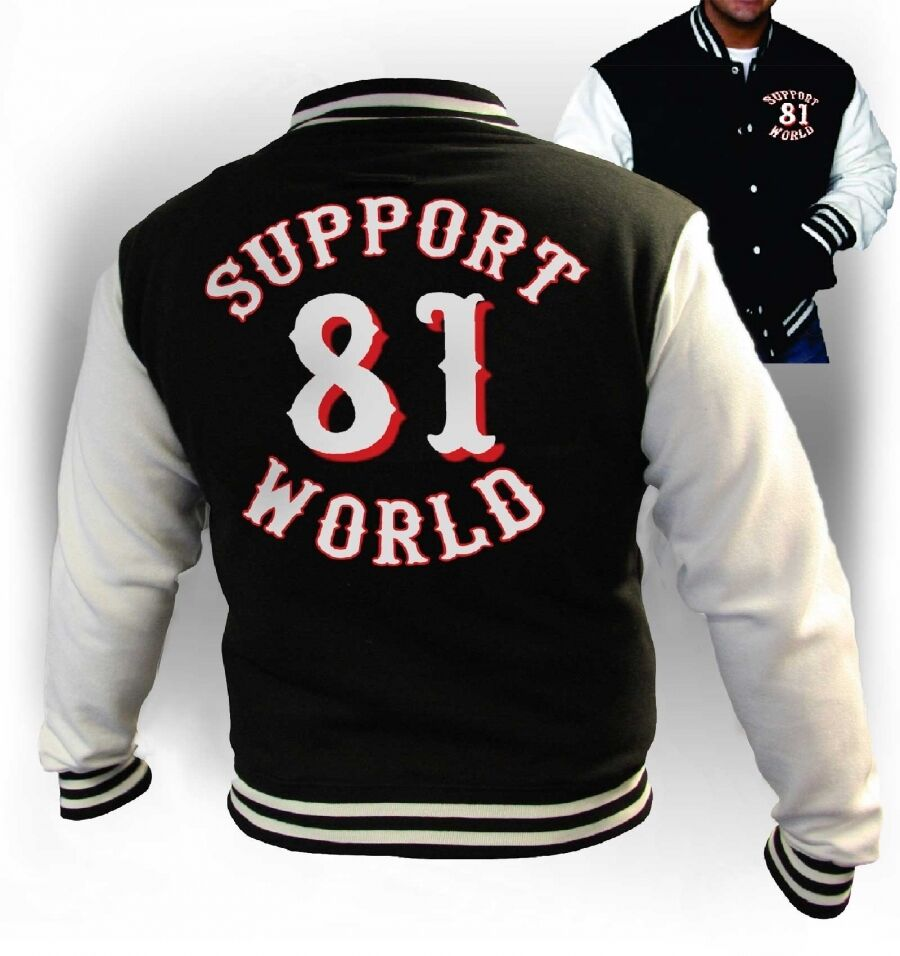 49 hells angels support 81 varsity jacket black harley. Black Bedroom Furniture Sets. Home Design Ideas