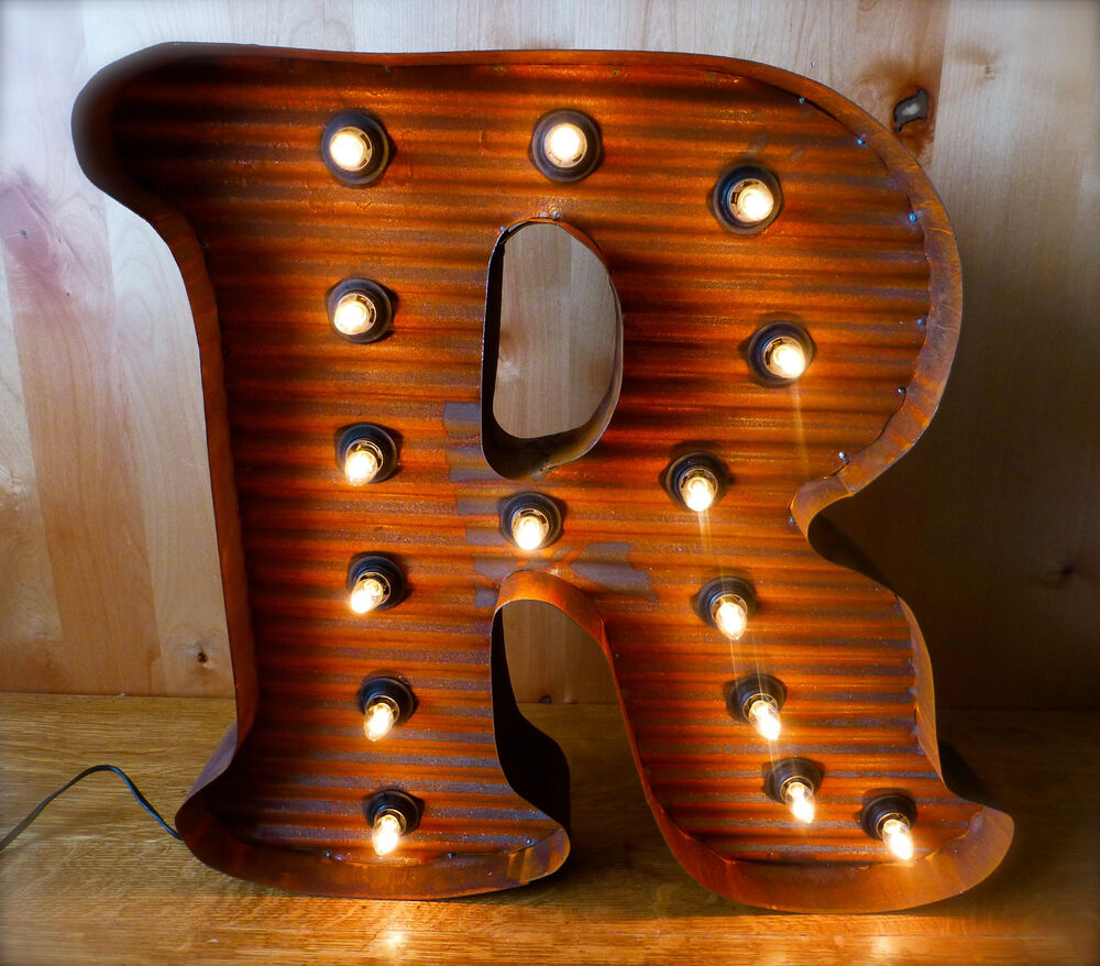 blue j vintage industrial metal sign light letters marquee lg brown vintage style light up marquee letter r 24 quot 678
