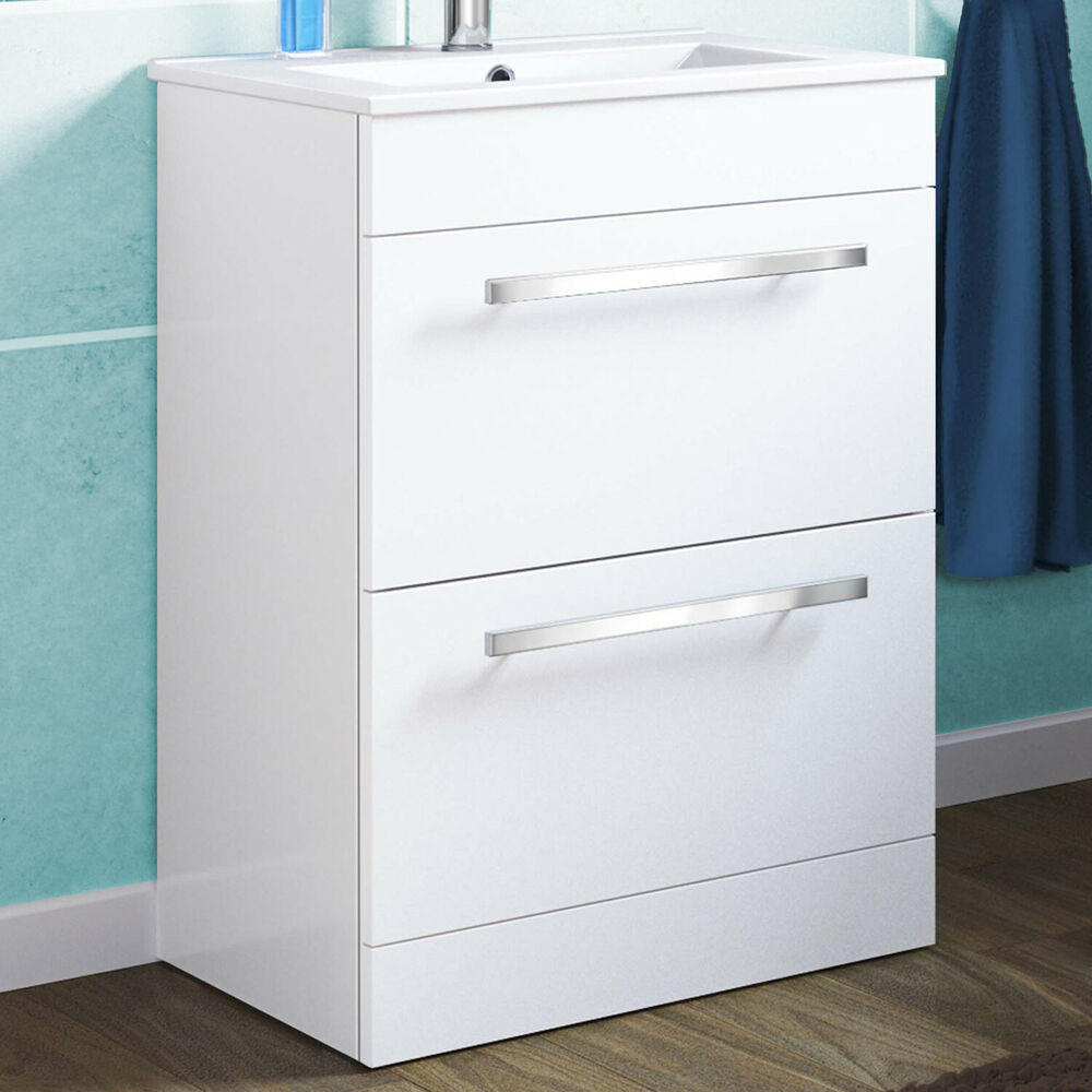 815 X 600mm White Bathroom Sink 2 Drawer Furniture Cabinet