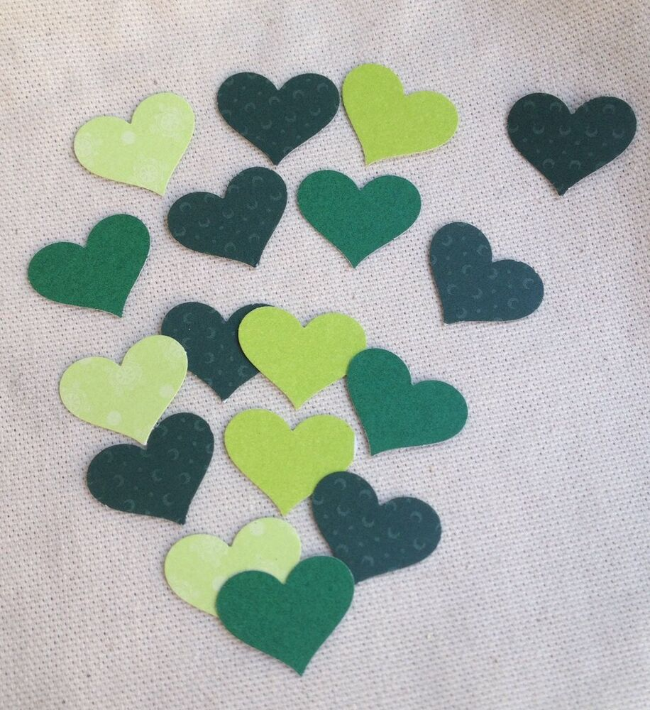 100 green hearts card stock punches scrapbooking paper for Craft paper card stock